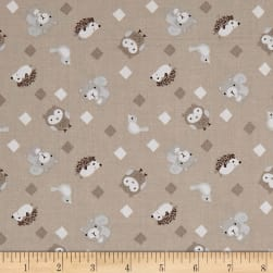 Little Forest Animals with Diamonds Taupe Fabric