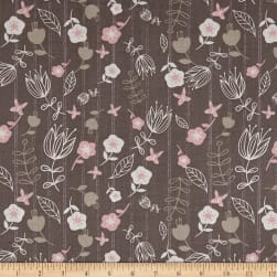 Play Day Floral Stripe Grey Fabric