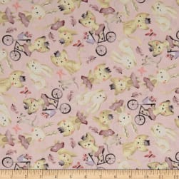 Play Day Tossed Animals Pink Fabric