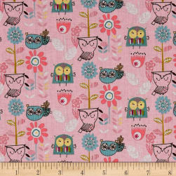 Whimsy Woodland Flying Whimsy Pink Fabric