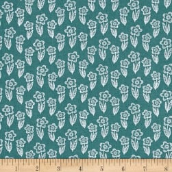 Whimsy Woodland Flowers Outline Dark Turq Fabric