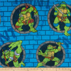 10 Yard Bolt Teenage Mutant Ninja Turtles Fleece Turtle Power Sewer Holes Blue