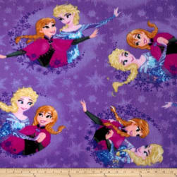 10 Yard Bolt Disney Frozen Fleece Sisters Ice Skating Snowflake Badge Purple