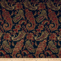 Designer Paisley Twill Sateen Dark Navy/Maroon Fabric