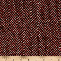 Herringbone Coating Red/Tan Fabric