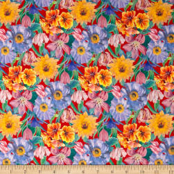 Liberty Fabrics Tana Lawn Meadow Melody Small Red