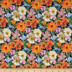 Liberty Fabrics Tana Lawn Meadow Melody Small Navy