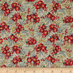 Liberty Fabrics Tana Lawn Swirling Petals Red Fabric