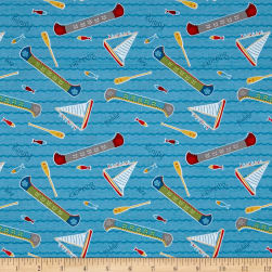Wilmington Let's Go Glamping Lake Toss Blue Fabric