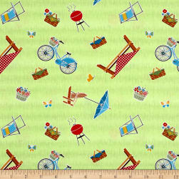Wilmington Let's Go Glamping Picnic Toss Green Fabric