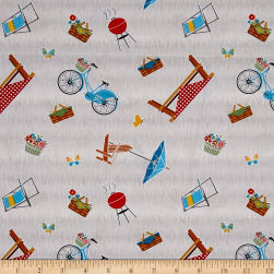 Wilmington Let's Go Glamping Picnic Toss Gray Fabric