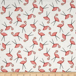 Wilmington Let's Go Glamping Flamingo Toss White Fabric