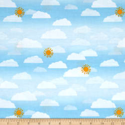 Wilmington Let's Go Glamping Sky Light Blue Fabric