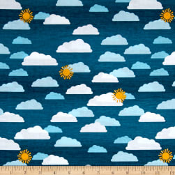 Wilmington Let's Go Glamping Sky Dark Blue Fabric