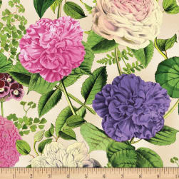 Wilmington Flower Show Large Floral Ivory Fabric