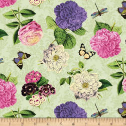 Wilmington Flower Show Tossed Flowers Green Fabric