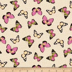 Wilmington Flower Show Butterflies Ivory Fabric