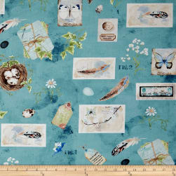 Wilmington Nature Study Large Allover Dark Teal Fabric