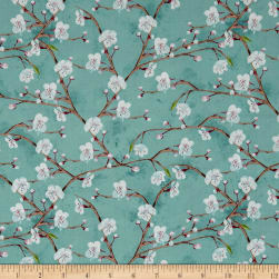 Wilmington Nature Study Flower Branches Teal Fabric
