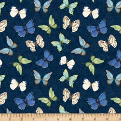 Wilmington Nature Study Butterflies Allover Navy Fabric