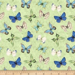 Wilmington Nature Study Butterflies Allover Green Fabric