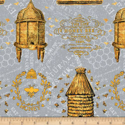 Wilmington A Bee's Life Beehive Allover Grey Fabric