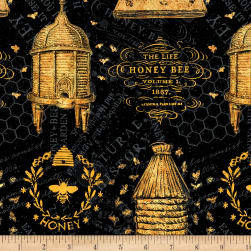 Wilmington A Bee's Life Beehive Allover Black Fabric