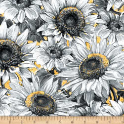 Wilmington A Bee's Life Sunflowers Gold/Grey Fabric