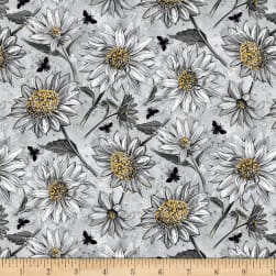 Wilmington A Bee's Life Daisy Allover Grey Fabric