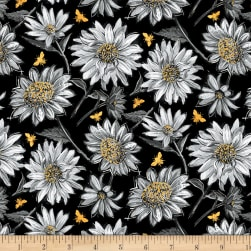 Wilmington A Bee's Life Daisy Allover Black Fabric