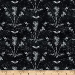 Wilmington A Bee's Life Thistles Black Fabric