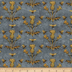Wilmington A Bee's Life Thistles Grey Fabric