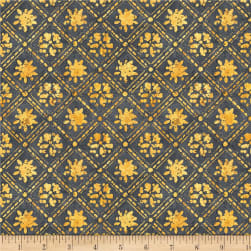 Wilmington A Bee's Life Lattice Dark Grey Fabric
