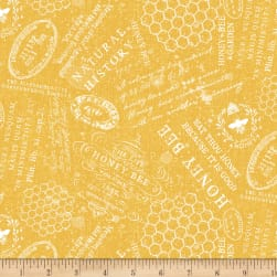 Wilmington A Bee's Life Words Gold Fabric