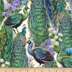 Wilmington Plumage Peacock and Flowers Ivory Fabric