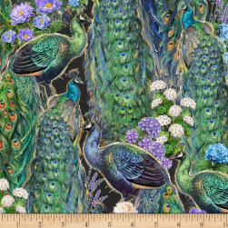 Wilmington Plumage Peacock and Flowers Black Fabric