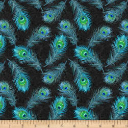 Wilmington Plumage Feathers Allover Blue Fabric