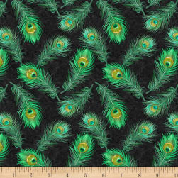 Wilmington Plumage Feathers Allover Green Fabric