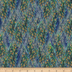 Wilmington Plumage Tail Texture Blue Fabric