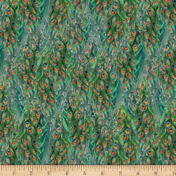 Wilmington Plumage Tail Texture Green Fabric