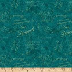 Wilmington Plumage Words Allover Teal Fabric