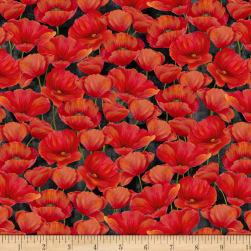 Wilmington Scarlet Dance Packed Poppies Black Fabric