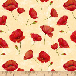 Wilmington Scarlet Dance Poppies Allover Tan Fabric