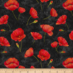 Wilmington Scarlet Dance Poppies Allover Black Fabric