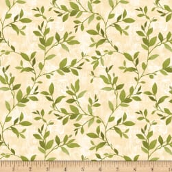 Wilmington Scarlet Dance Leaves Allover Tan Fabric
