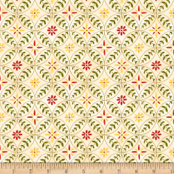 Wilmington Scarlet Dance Flower Rings Tan Fabric