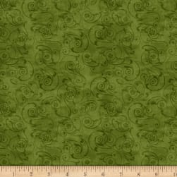 Wilmington Scarlet Dance Scroll Green Fabric