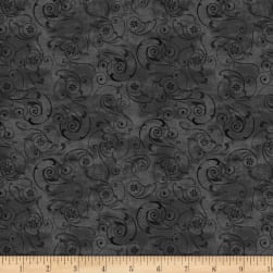 Wilmington Scarlet Dance Scroll Black Fabric