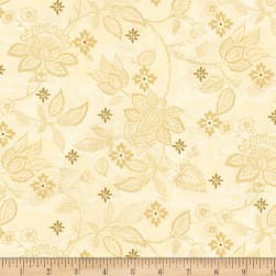 Wilmington Scarlet Dance Floral Texture Tan Fabric
