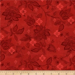 Wilmington Scarlet Dance Floral Texture Red Fabric